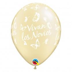 GLOBOS BLANCO Y MARFIL VIVAN LOS NOVIOS