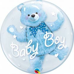 GLOBO BUBBLE DOBLE BABY BOY OSO AZUL