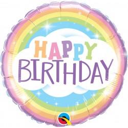 GLOBO REDONDO HAPPY BIRTHDAY ARCOIRIS