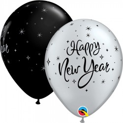 GLOBOS NEGRO/PLATA HAPPY NEW YEAR