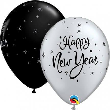 GLOBOS NEGRO/PLATA HAPPY NEW YEAR