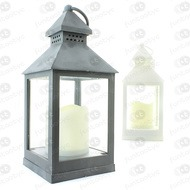 FAROL METAL GRIS O BLANCO +VELA LED