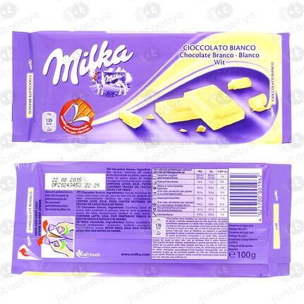 CHOCOLATINA TABLETA MILKA BLANCO