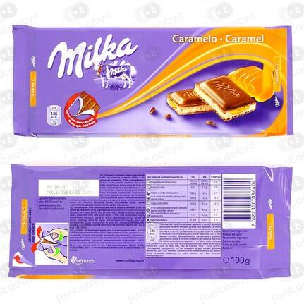 CHOCOLATINA TABLETA MILKA CARAMELO