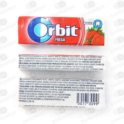 CHICLES ORBIT GRAGEA FRESA
