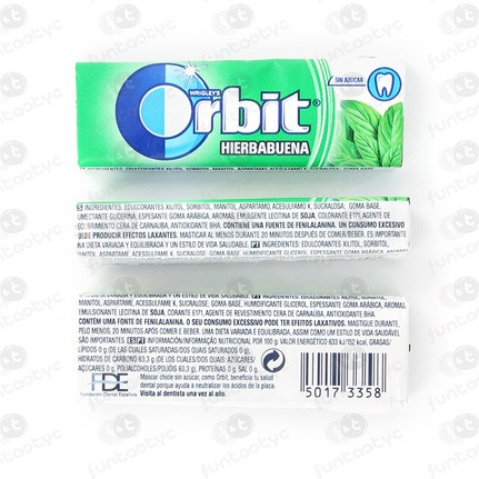 CHICLES ORBIT GRAGEA HIERBABUENA