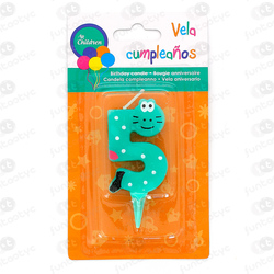 VELA CUMPLE ANIMALES Nº5 COLOR SURTIDO