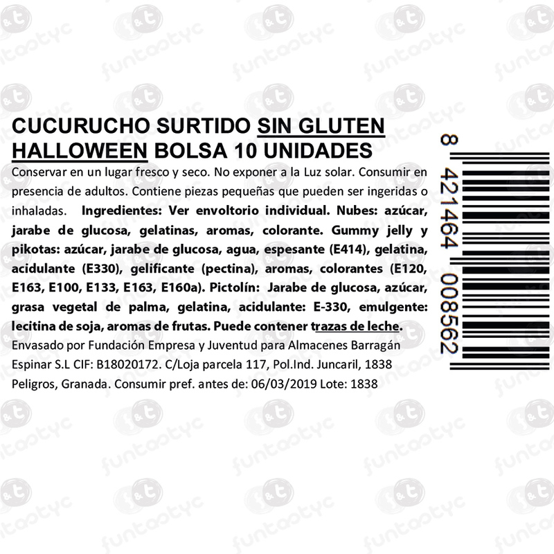 CUCURUCHOS STDOS. SIN GLUTEN HALLOWEEN 10U