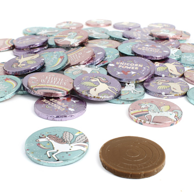 MONEDAS DE CHOCOLATE UNICORNIO