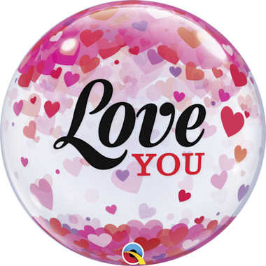 GLOBO BUBBLE SENCILLO LOVE YOU CORAZONES