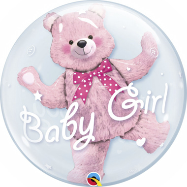 GLOBO BUBBLE DOBLE BABY GIRL OSO ROSA