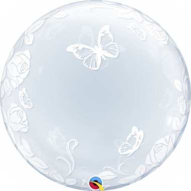 GLOBO BUBBLE DECO ROSAS Y MARIPOSAS