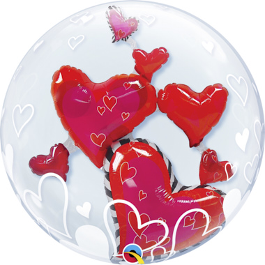 GLOBO BUBBLE DOBLE CORAZONES FLOTANDO