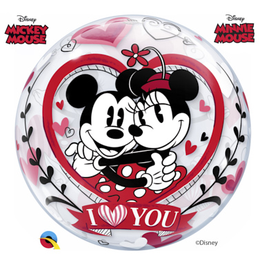 GLOBO BUBBLE MICKEY Y MINNIE I LOVE YOU