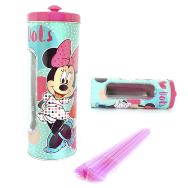 BOTE METAL MINNIE CON 25 PAJITAS